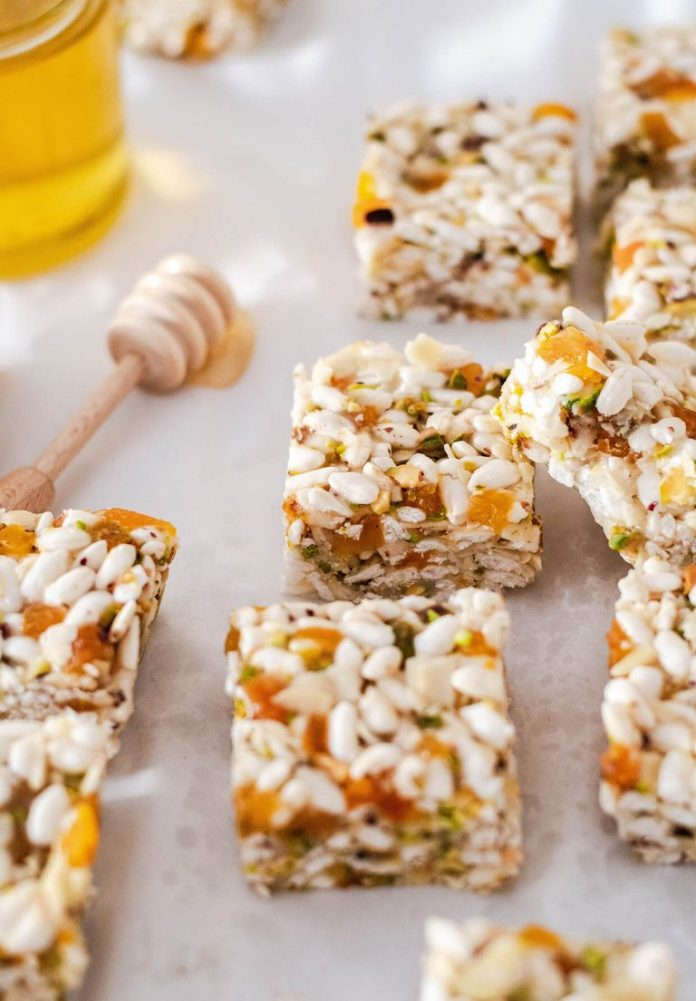 coconut apricot puffed rice from sugar salted