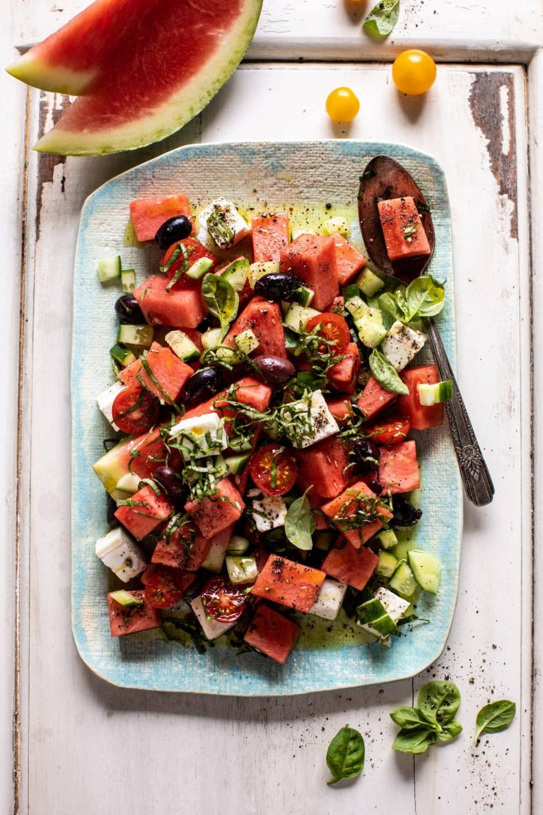 greek watermelon feta salad -- half baked harvest