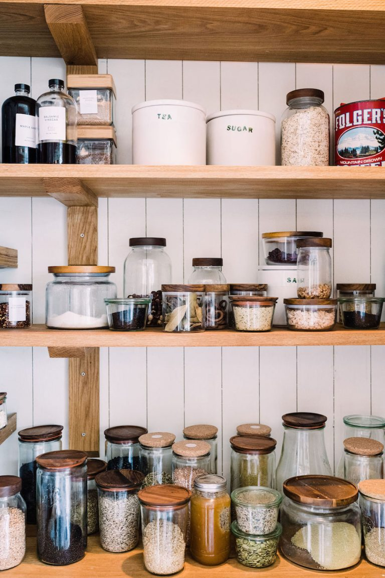 Organized pantry - modern farmhouse kitchen, Helene Henderson home - Malibu Farm