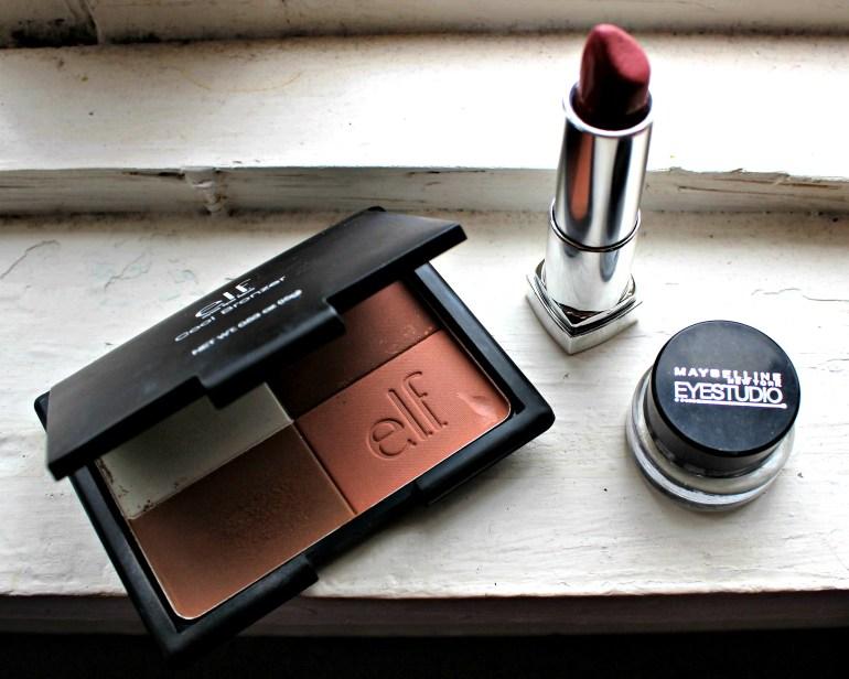 ELF Blush and Bronzer Palette, Maybelline lipstick, Maybelline eyeliner - drugstore