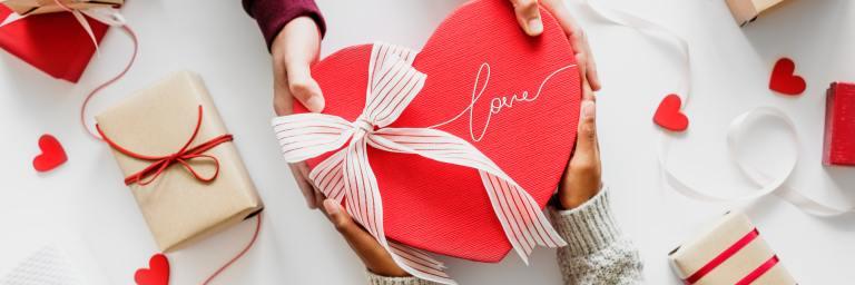 Gift exchange on Valentine's day.