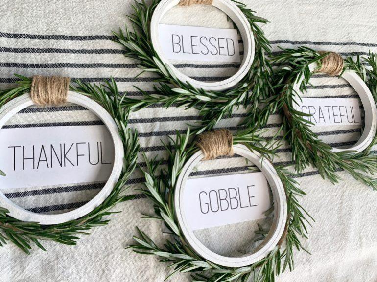 Thankful, blessed, grateful, gobble rosemary napkin rings.