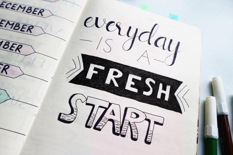 "Planner with quote ""everyday is a fresh start"""
