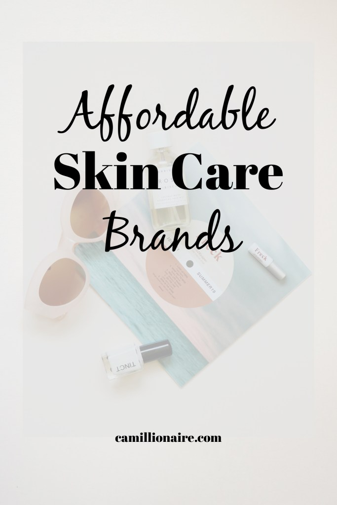 Affordable skin care brands - flat lay of skin care bottles