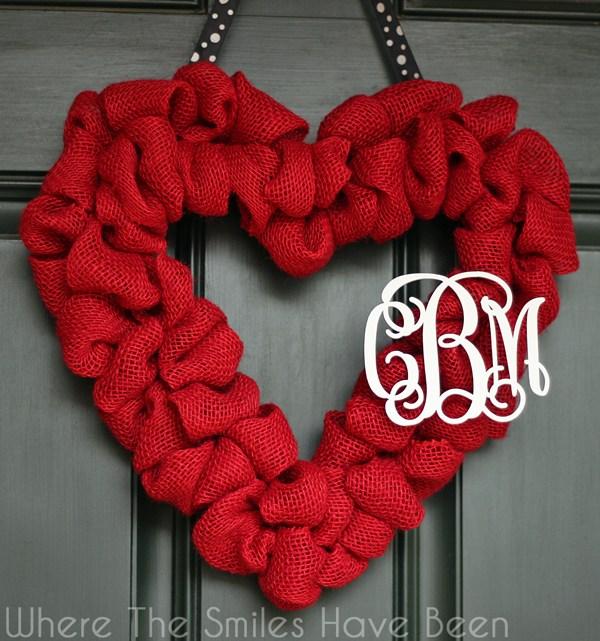 DIY Valentine's day decoration burlap heart