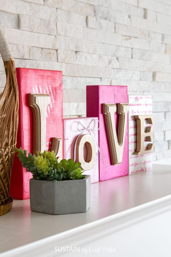 LOVE scrap wood sign decorations