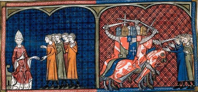 Inocencio III, y los cruzados contra los cátaros.