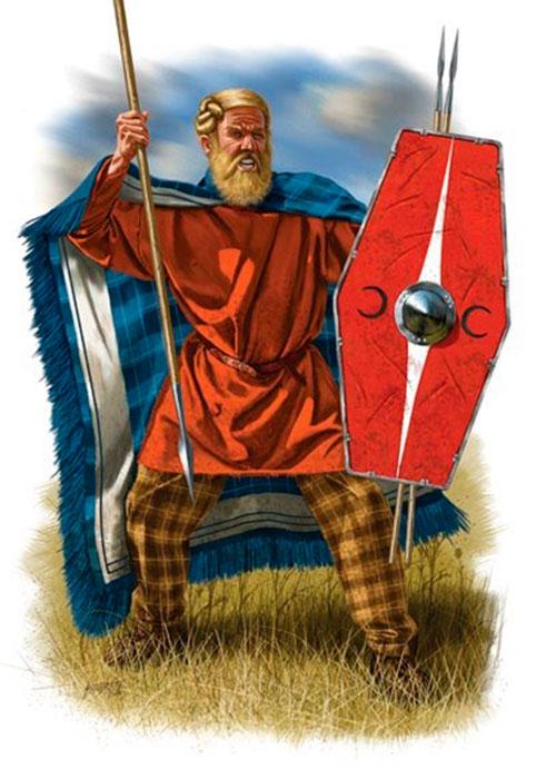Recreación de la figura de un guerrero suevo, descrita por las fuentes romanas.