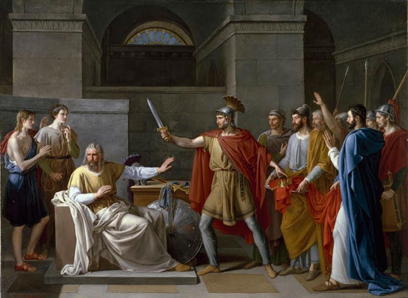 Wamba renunciando a la corona tras la muerte de Recesviento