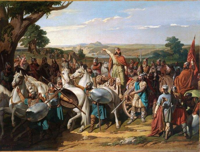 Don Rodrigo arengando a sus tropas antes de la Batalla de Guadalete