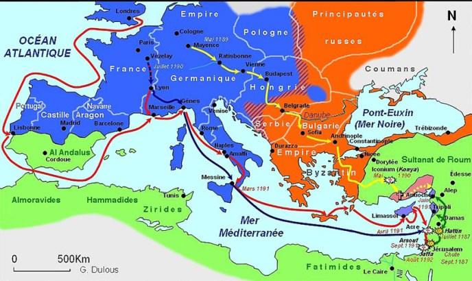 Itinerarios de los cruzados, durante al Tercera Cruzada.