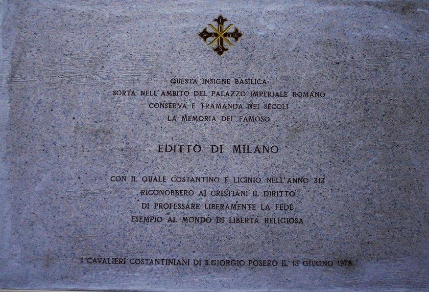 Placa conmemorativa del Edicto de Milán.