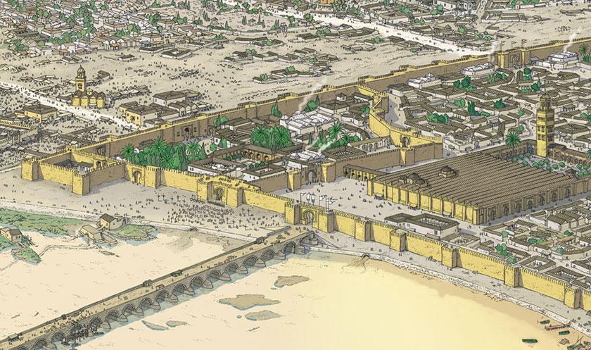 Recreación de la ciudad de Córdoba durante el califato, en primer termino el Puente Romano