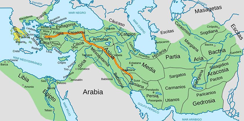 Máxima extensión del Imperio Persa, su religión oficial el Zoroastrismo.