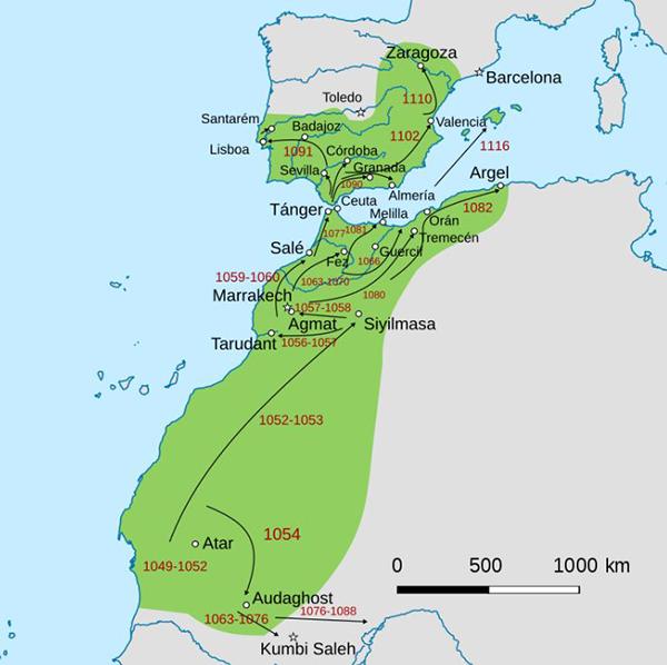 Máxima extensión del Imperio Almorávide