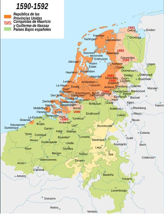 Los Países Bajos a finales del siglo XVI, durante la guerra de los 80 años.
