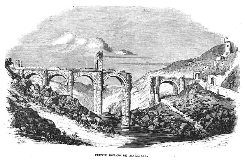 Grabado del puente del siglo XIX, antes de su última reconstrucción.