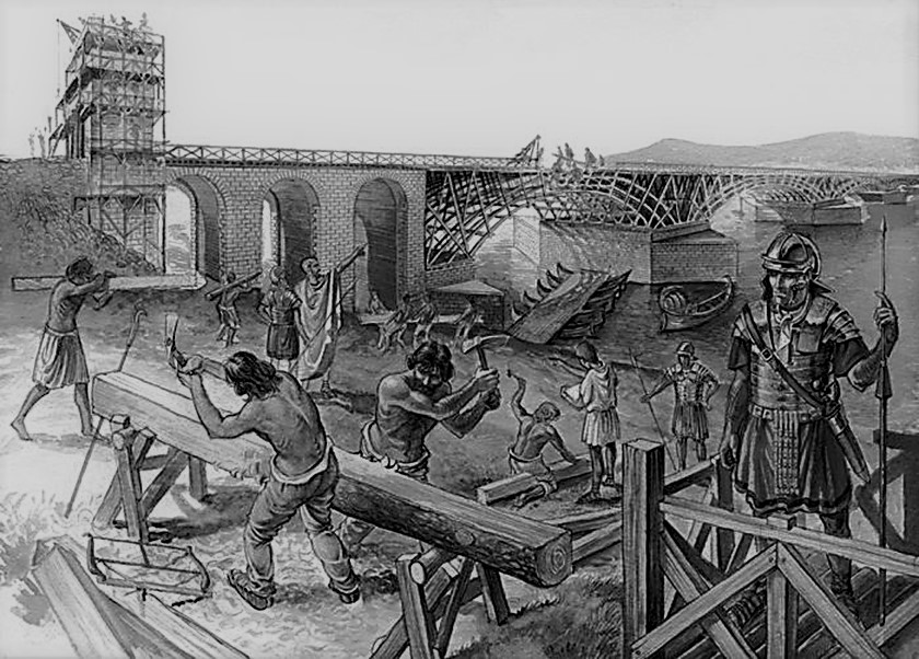 Construcción del Puente de Trajano sobre el Danubio