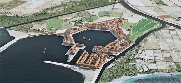 Recreación del puerto de Ostia