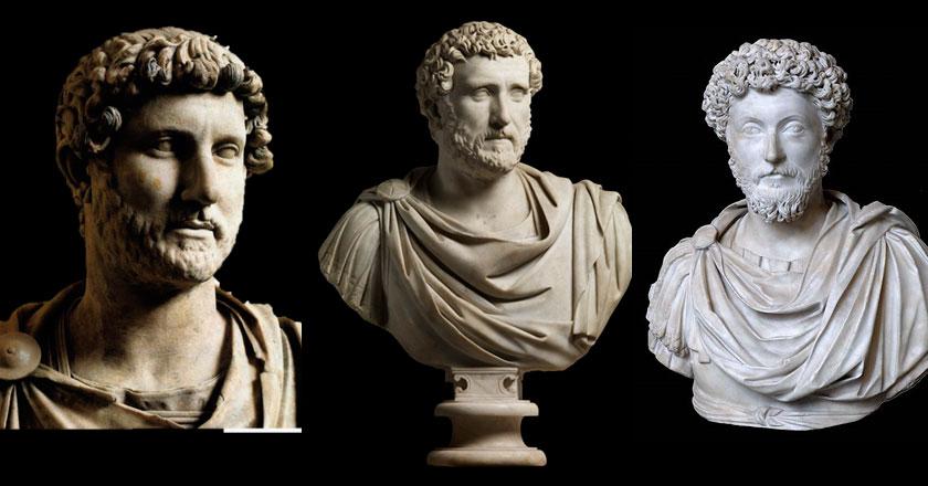 Adriano, a la izquierda introdujo la barba entre los emperadores romanos, los otros Antonino Pío y Marco Aurelio.