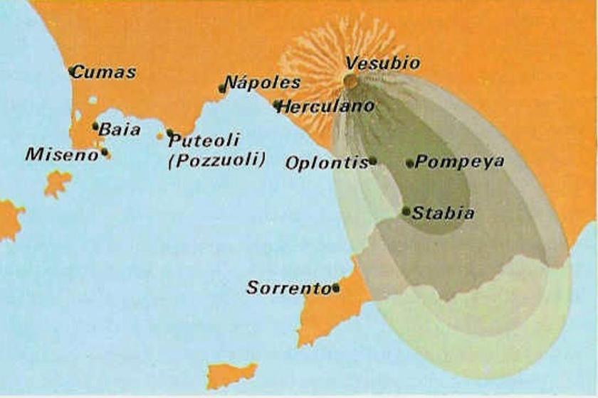 Afectación de la erupción del Vesubio