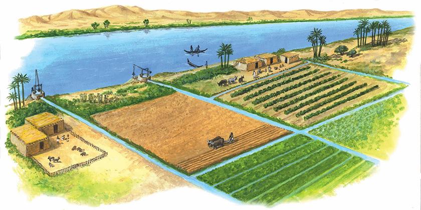 Idílica imagen del agricultura del Creciente fértil