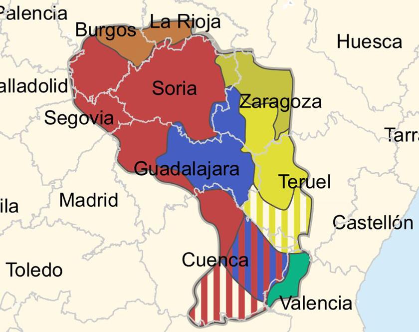 Distribución de los antiguos pueblos celtiberos.
