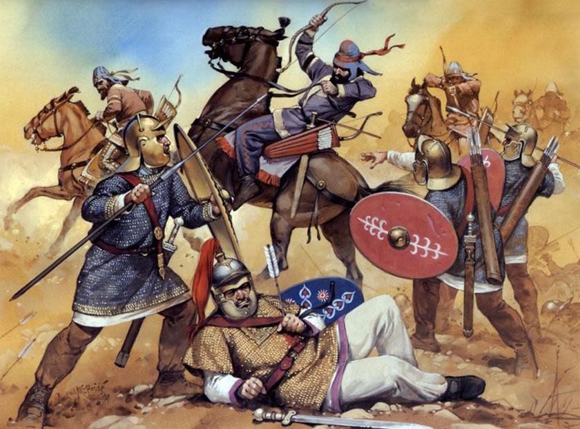recreación de una batalla entre persas sasánidas y romanos