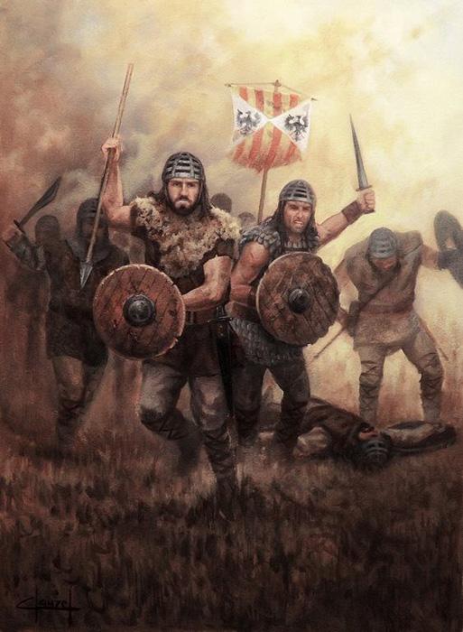 Almogávares con la bandera de Aragón.