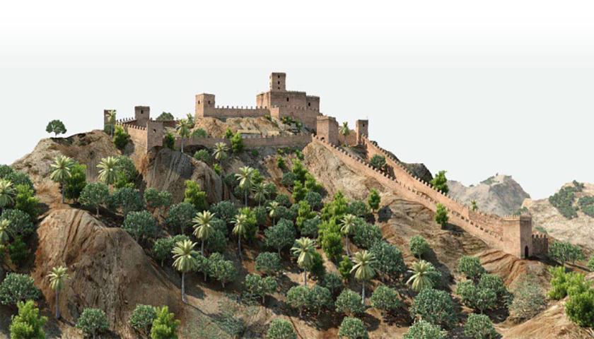 Hipotética reconstrucción del Castillo de Ricote, morada de Ibn Hud.