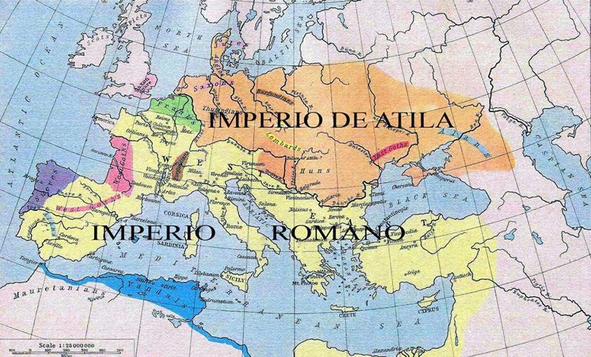 El Imperio de los hunos a mediados del siglo V