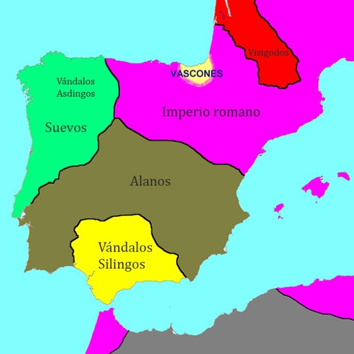 El reparto de los pueblos bárbaros de Hispania