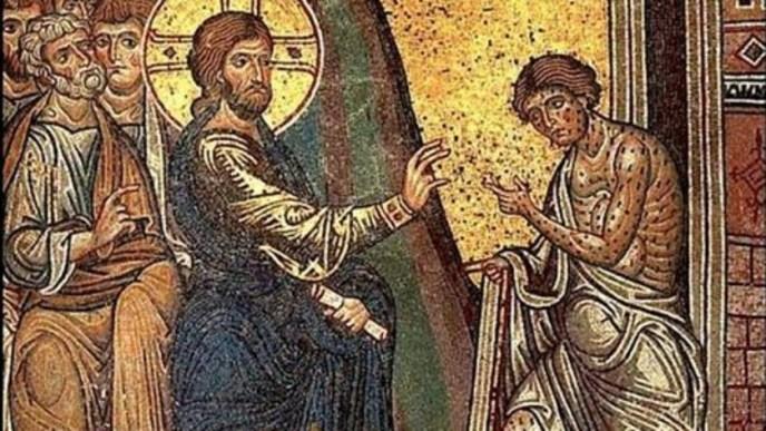 Jesucristo con un leproso