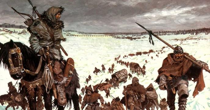 Recreación de los bárbaros atravesando el Rin