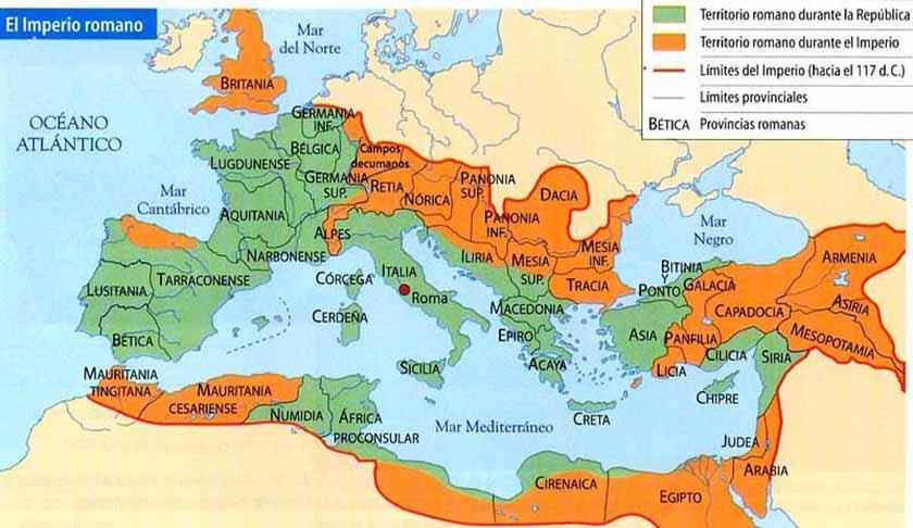 La máxima extensión del Imperio romano, año 117