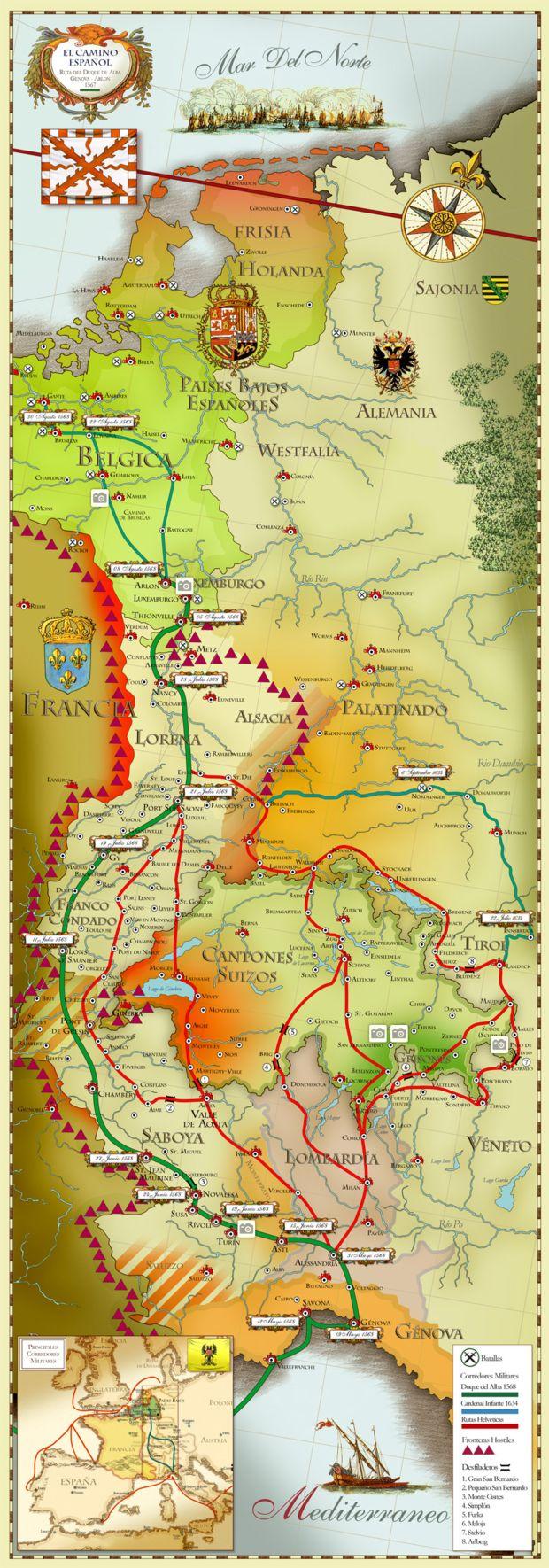 Mapa del Camino Español