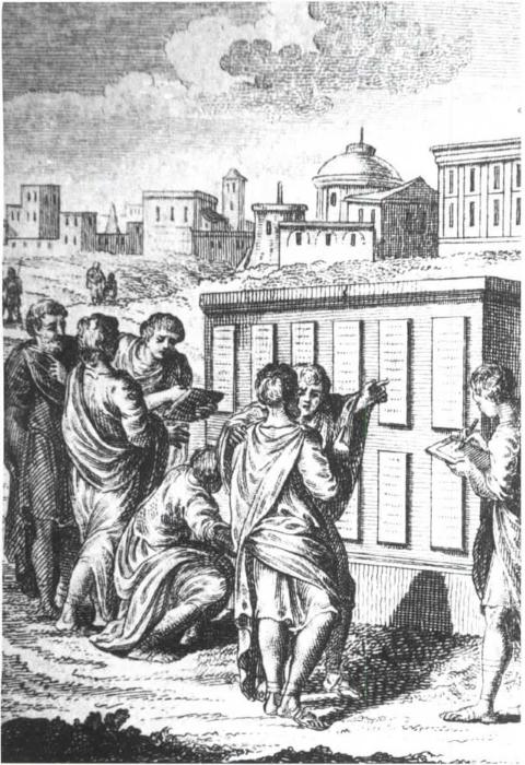 Grabado sobre las XII Tablas expuestas en el foro de Roma