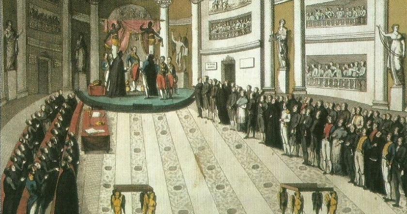 Fernando VII firma la Constitución de 1812.