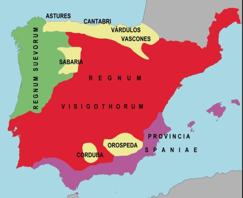 Mapa de la Península sobre el año 560