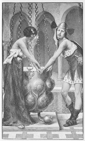 """""""Pryderi and Rhiannon's imprisonment, by Albert Herter. From Thomas Wentworth Higginson's Tales of the Enchanted Islands of the Atlantic""""."""