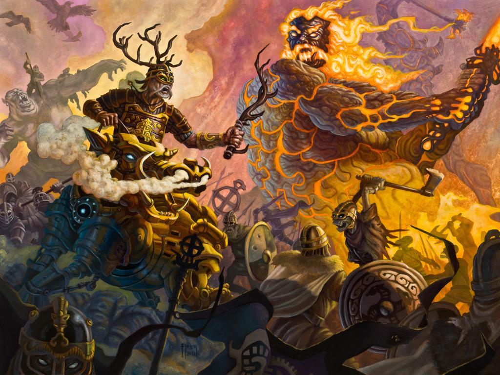 Deus Freyr e Jotun (Gigante) Surtr. Crédito - https://www.deviantart.com/samflegal/art/Freyr-s-Last-Stand-391445965