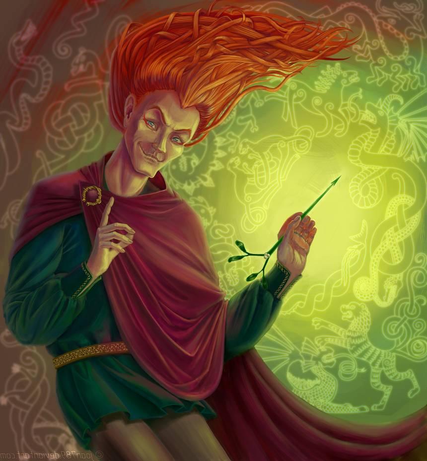 "Loki. ""Loki está planejando a morte de Baldr"". Crédito - https://www.deviantart.com/joan789/art/Loki-is-scheming-the-murder-of-Baldr-483087704"