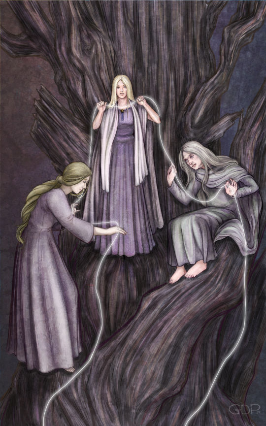 Nornas Urd, Verdandi, Skuld. Fonte: https://www.deviantart.com/gpalmer/art/Spinners-of-Fate-506835890