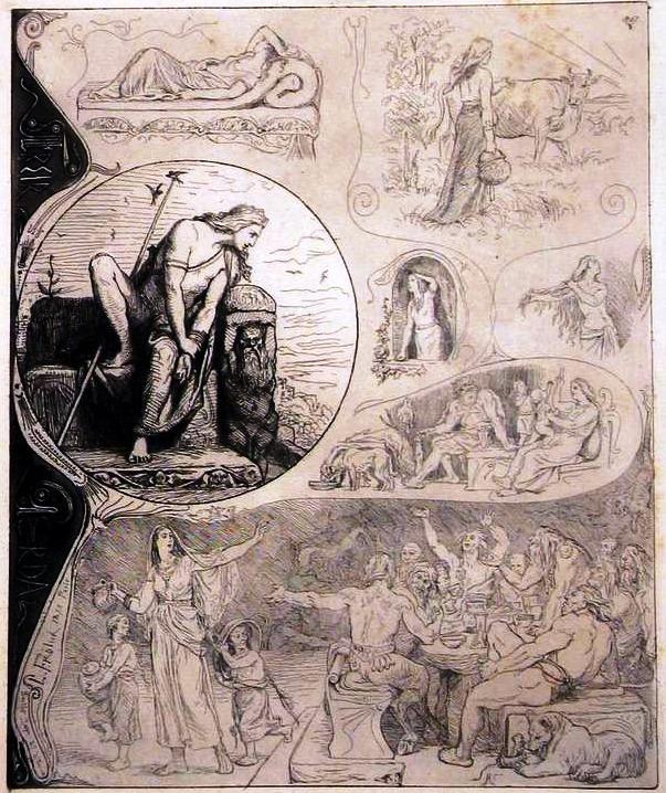 """Freyr and Gerd"". Por Lorenz Frølich (1885). Fonte: http://germanicmythology.com/works/TMFREYR.html"