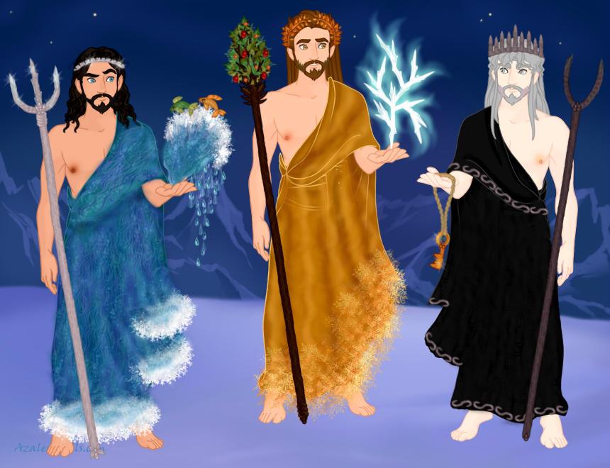 Deus Netuno / Poseidon; Deus Júpiter / Zeus; Deus Plutão / Hades. Fonte: https://www.deviantart.com/eolewyn1010/art/brothers-of-Godly-Nobility-682199752