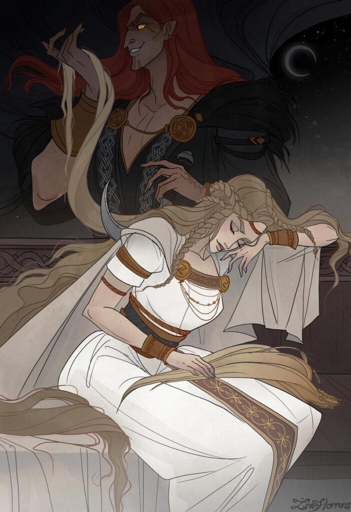 Deus / Jotun Loki e a Deusa Sif. Fonte: https://www.deviantart.com/irenhorrors/art/Sif-and-her-Golden-Hair-852087464