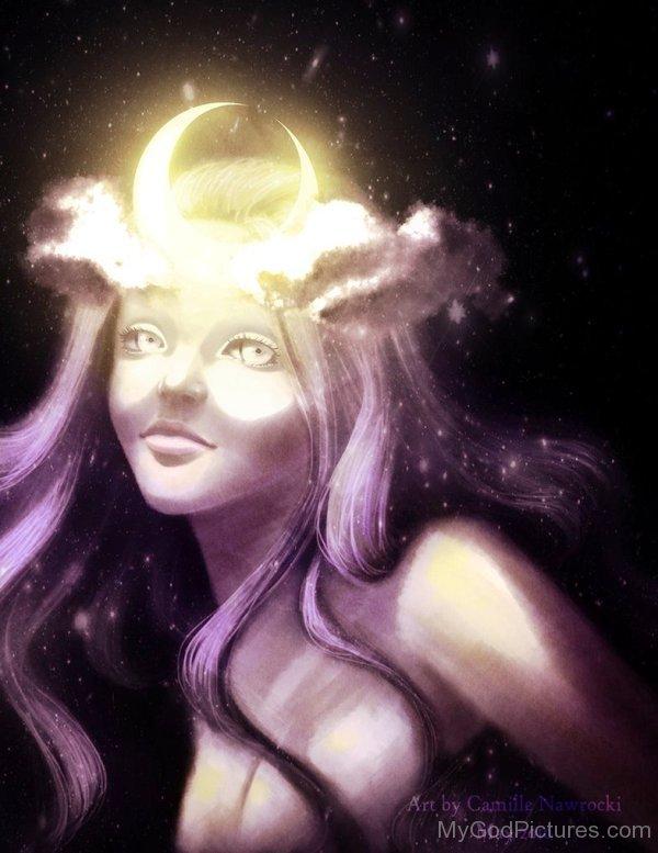 Deusa Selene. Fonte: https://www.mygodpictures.com/wp-content/uploads/2015/11/Selene-Painting-as116.jpg
