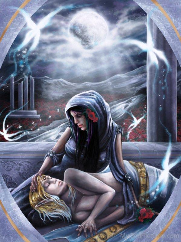 Deusa Selene e Endymion. Fonte: https://www.mygodpictures.com/endymion-and-selene/