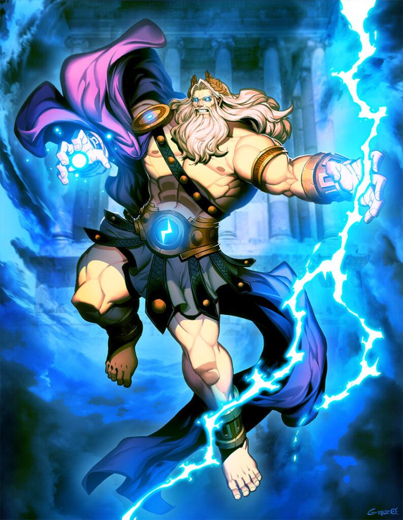 Deus Zeus. Fonte: https://www.deviantart.com/genzoman/art/Zeus-king-of-Mount-Olympus-854591365