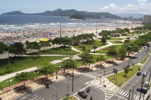 Panorama da orla de Santos
